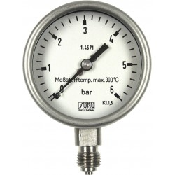 Type 6322 Bourdon tube pressure gauge NS63, all stainless steel, high-temperature up to 300°C