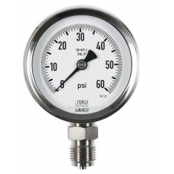Type 6202 Bourdon tube pressure gauge with glycerine filling, NS80, all stainless steel, connection bottom