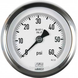 Type 6203 Bourdon tube pressure gauge NS80, all stainless steel, glycerine filling, connection back