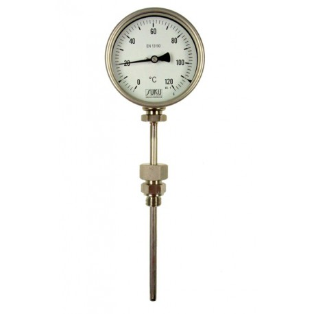 Type B12 Bimetal-Pointer-Thermometer, all stainless steel with bayonetring, connection bottom