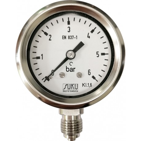 Type 6010, Bourdon tube pressure gauge NS40, chemical execution, fillable, connection bottom