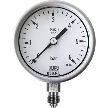 Typ 6030, Rohrfedermanometer NG63, Chemieausführung, Anschluss unten