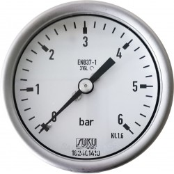 Type 6031, Bourdon tube pressure gauge NS63, all stainless steel, connection back