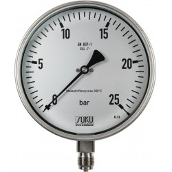 Type 6315, Bourdon tube pressure gauge NS160, all stainless steel, high-temperature up to 300 °C