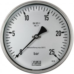 Type 6317, Bourdon tube pressure gauge NS160, all stainless steel, high-temperature up to 300°C