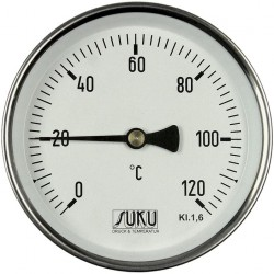 Type 01 Bimetal-Pointer-Thermometer, case steel, connection back