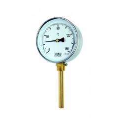 Type 02 Bimetal-Pointer-Thermometer, case steel, connection bottom