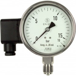 Type 6850 Safety pressure gauge NS100, S3, all stainless steel, with current output signal