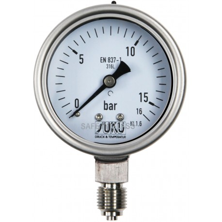 Type 6035, Bourdon tube pressure gauge NS63, all stainless steel, fillable, connection bottom, LOW-COST