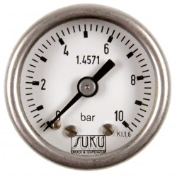 Type 6021, Bourdon tube pressure gauge NS50, all stainless steel, fillable, connection back