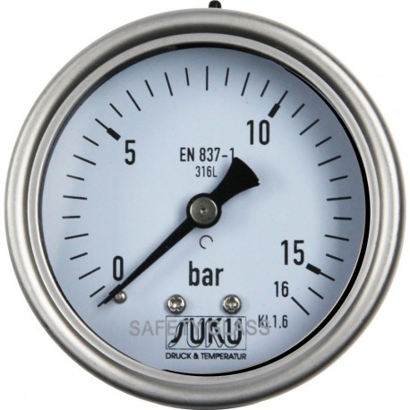 Type 6036, Bourdon tube pressure gauge with glycerine filling, NS63, all stainless steel, connection back, LOW-COST