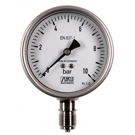 Typ 6325, Rohrfedermanometer mit Glyzerinfüllung, NG100, Chemieausführung, Anschluss unten